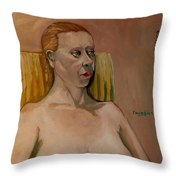 Throw Pillow featuring the painting Jessica S by Ray Agius