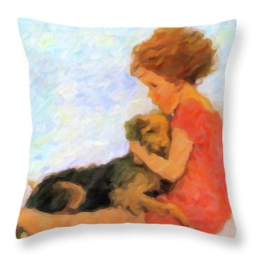 Jessie And Me Throw Pillow by Chris Armytage