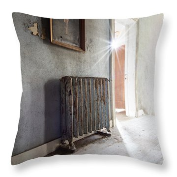 Jesus Above The Heater - Abandoned Building Throw Pillow