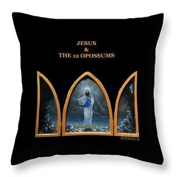 Jesus And The 12 Opossums Throw Pillow by Larry Preston