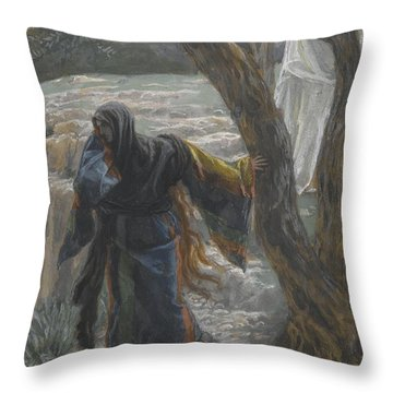 Jesus Appears To Mary Magdalene Throw Pillow by Tissot