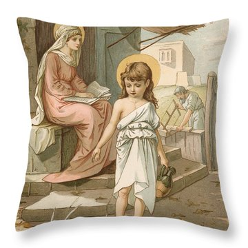 Jesus As A Boy Playing With Doves Throw Pillow by John Lawson