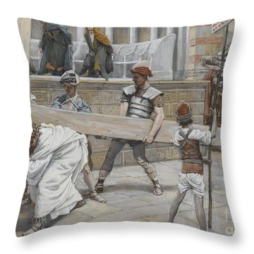 Jesus Bearing The Cross Throw Pillow by Tissot