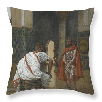 Jesus Before Pilate Throw Pillow by Tissot