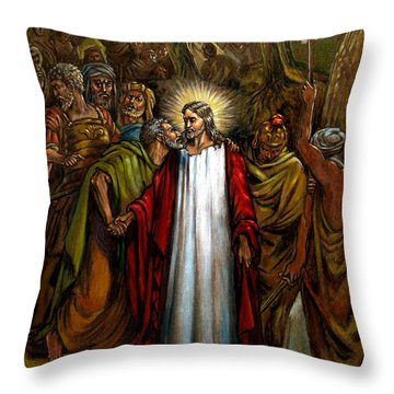 Jesus Betrayed Throw Pillow