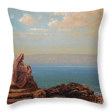Jesus By The Sea Throw Pillow by Michael Nowak