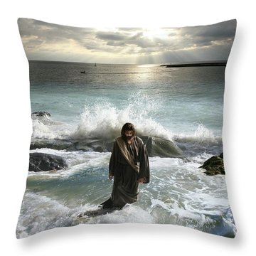 Jesus Christ- I Have Come As A Light Into The World Throw Pillow