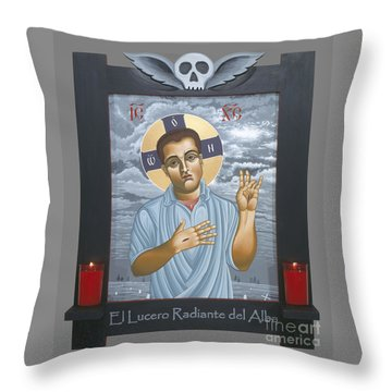 Throw Pillow featuring the painting Jesus Christ Morning Star With Frame 108 by William Hart McNichols