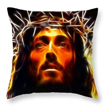 Jesus Christ The Savior Throw Pillow by Pamela Johnson
