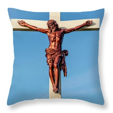 Jesus Crucifix Against The Sky 3 Throw Pillow by Gary Whitton