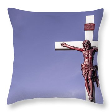 Throw Pillow featuring the photograph Jesus Crucifix Against The Sky by Gary Whitton