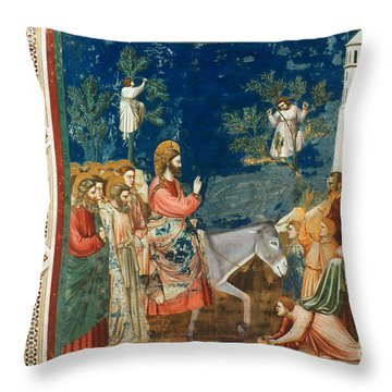 Jesus Entering Jerusalem Throw Pillow