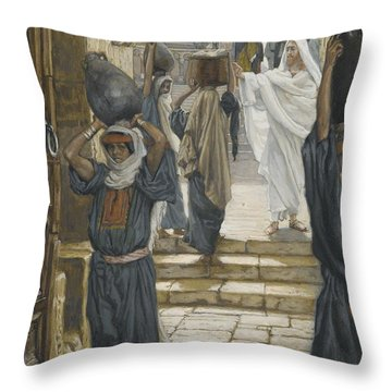 Jesus Forbids The Carrying Of Loads In The Forecourt Of The Temple Throw Pillow by Tissot