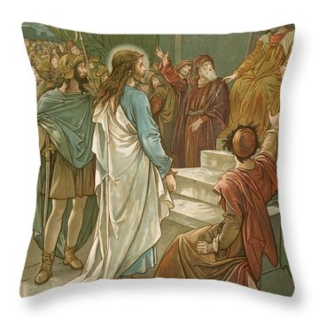 Jesus In Front Of Pilate Throw Pillow by John Lawson