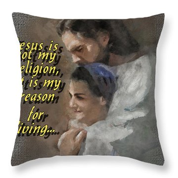 Jesus Is Not My Religion Throw Pillow
