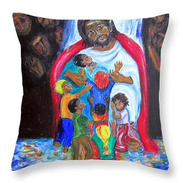 Jesus Loves The Children Throw Pillow