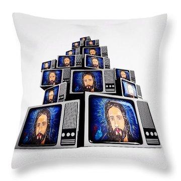 Jesus On Tv Throw Pillow