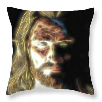 Throw Pillow featuring the painting Jesus Portrait Fractal Tapestry by Dave Luebbert