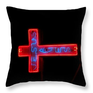 Jesus Saves At Night Throw Pillow