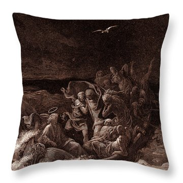 Jesus Stilling The Tempest Throw Pillow by Gustave Dore