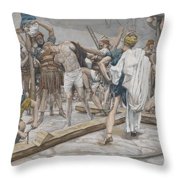 Jesus Stripped Of His Clothing Throw Pillow by Tissot