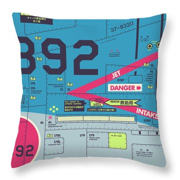 Jet Air Intake Detail - Portrait Blue Throw Pillow
