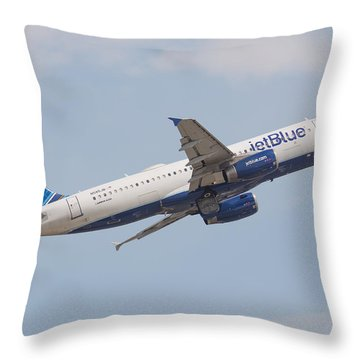 Jet Blue Throw Pillow
