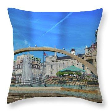 Jet Over City Hall Throw Pillow