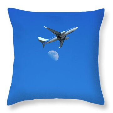 Jet Plane Flying Over The Moon Throw Pillow