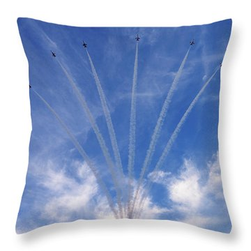 Throw Pillow featuring the photograph Jet Planes Formation In Sky by Pradeep Raja Prints