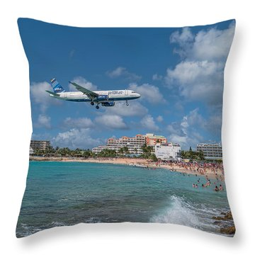 jetBlue at St. Maarten Throw Pillow by David Gleeson