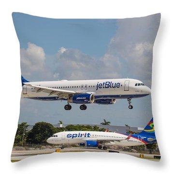 Jetblue Over Spirit Air Throw Pillow