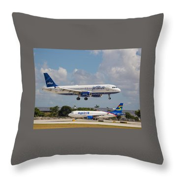 Jetblue Over Spirit Air Throw Pillow