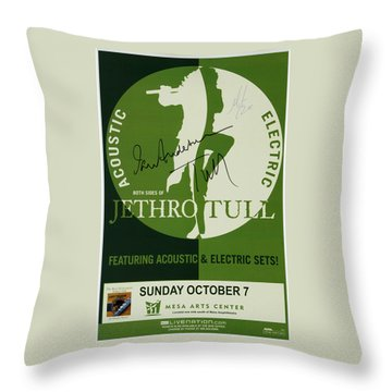 Jethro Tull Signed Poster Throw Pillow