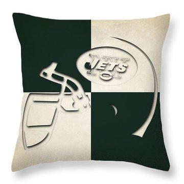 Jets Helmet Art Throw Pillow