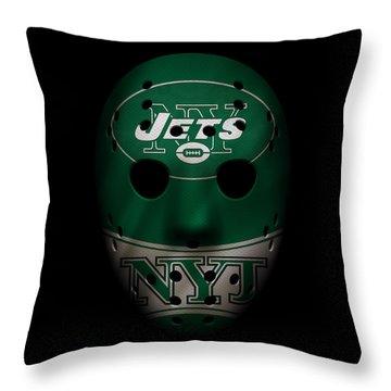 Jets War Mask 2 Throw Pillow