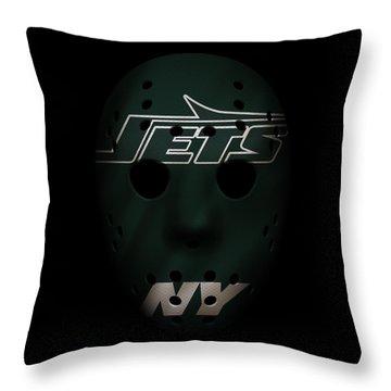 Jets War Mask 4 Throw Pillow