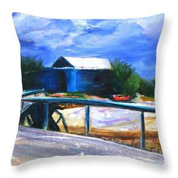 Jetty And Boatshed Throw Pillow
