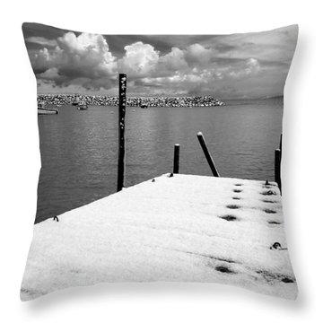 Jetty, Rhos-on-sea Throw Pillow