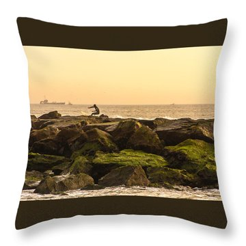Jetty Surfer Throw Pillow