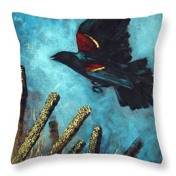 Jewel Among The Cattails Throw Pillow