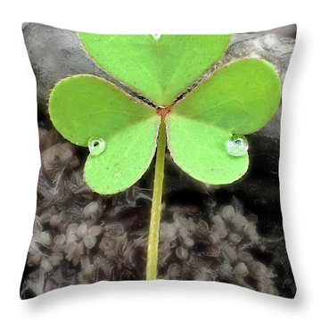 Jeweled Clover 3 Throw Pillow