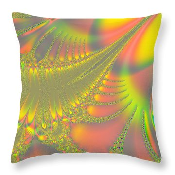 Jeweled Feather Throw Pillow by Linda Phelps