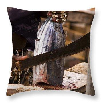 Jeweled Hand Skinning Fish Throw Pillow