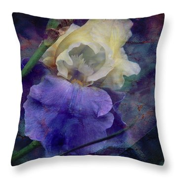 Throw Pillow featuring the photograph Jeweled Iris by Toni Hopper