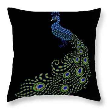 Jeweled Peacock Throw Pillow