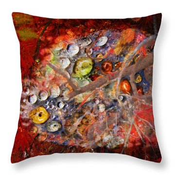 Jewels And The Japanese Maple Throw Pillow