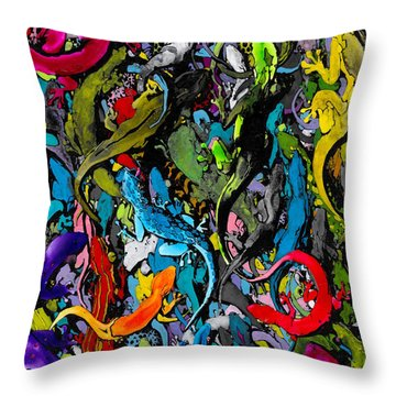 Jewels Of The Demon City Swarm Throw Pillow