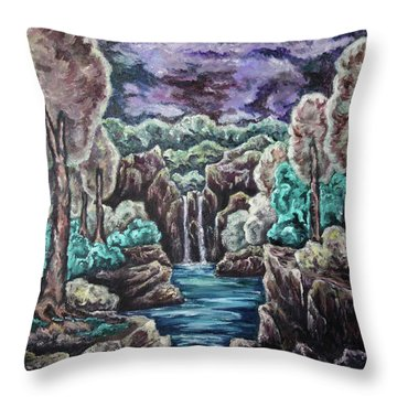 Throw Pillow featuring the painting Jewels Of The Valley by Cheryl Pettigrew