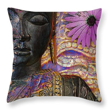 Jewels Of Wisdom - Buddha Floral Artwork Throw Pillow